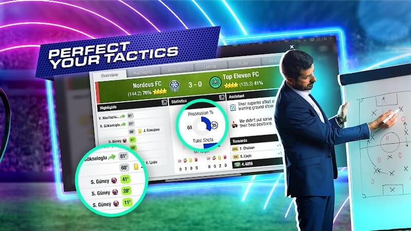 download top eleven 2021 mod apk
